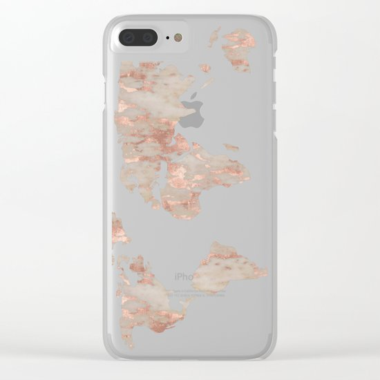 World Map Marble Rose Gold Shimmer Clear iPhone Case