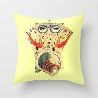 psychology Throw Pillows featuring Mystical uterus by Laura Nadeszhda