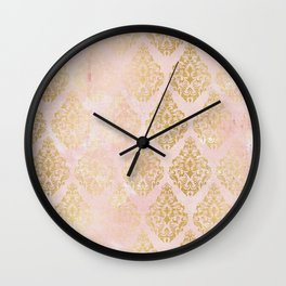 floral gold leaf diamond arabesque on pink Wall Clock