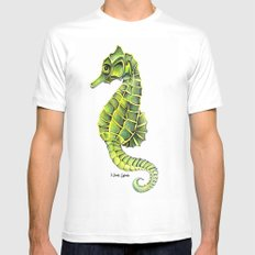 Sea Horse Green Yellow Sea Life Ocean Underwater Creature White Mens Fitted Tee MEDIUM