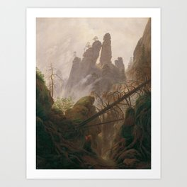 Caspar David Friedrich - Rocky Lanscape in the Elbe Sandstone Mountains Art Print