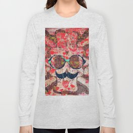 vintage old skull portrait with red poppy flower field abstract background Long Sleeve T-shirt