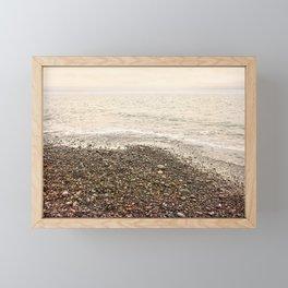 Dungeness Shoreline, Pebble Beach, Washington Seascape, Juan de Fuca, Coastal Photography Framed Mini Art Print