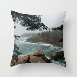 Foggy Morning in Acadia National Park Throw Pillow