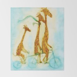 Family of giraffes rides a bicycle-tandem Throw Blanket