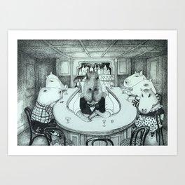 Capybaras having good time at the bar Art Print