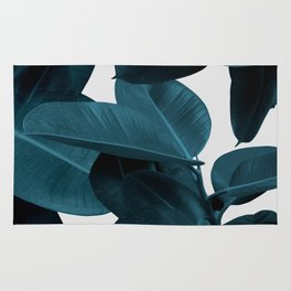 Indigo Plant Leaves Rug
