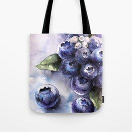 Watercolor Blueberries - Food Art Tote Bag