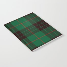 Dark Green Tartan with Black and Red Stripes Notebook