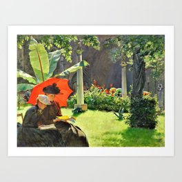 Charles Courtney Curran - Afternoon In The Cluny Garden, Paris - Digital Remastered Edition Art Print
