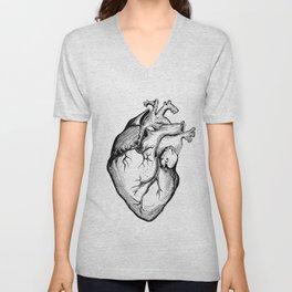 Heart Black and White Unisex V-Neck