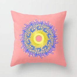 Mandala #105, Peach and Sunshine Throw Pillow