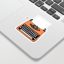 Vintage Orange Typewriter (Write Your Own Message) Sticker