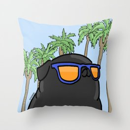 Black pug in California Throw Pillow