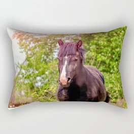 Dark bay horse Rectangular Pillow