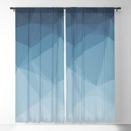 Low Poly Polygonal Geometric Design Blue 01 Blackout Curtain