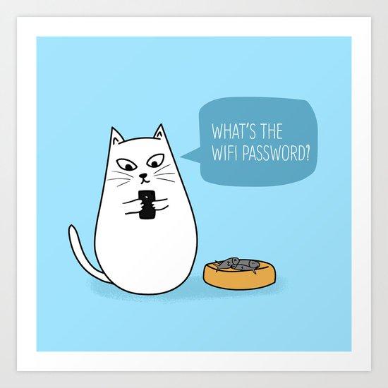 Wifi Cat Art Print