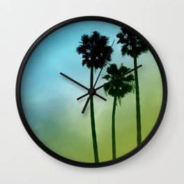Palm Trees, Blue to Yellow Fade Wall Clock