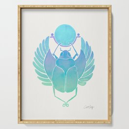 Egyptian Scarab – Turquoise Ombré Serving Tray