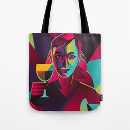 colorful cubist girl drinking wine Tote Bag