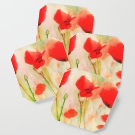 Poppies in a field Coaster