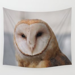 Barn Owl on Alert Wall Tapestry