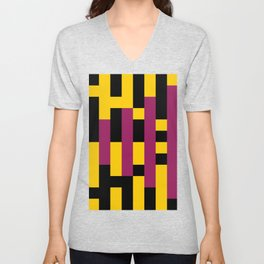 A lot of rectangles, all put in a way that it seems it is a 3d thing, but it's 2d, purple carpet. Unisex V-Neck