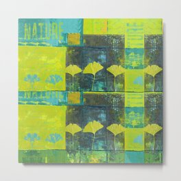 Green nature greenery gingko leaf collge Metal Print