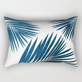 Indigo Palm Fronds Rectangular Pillow
