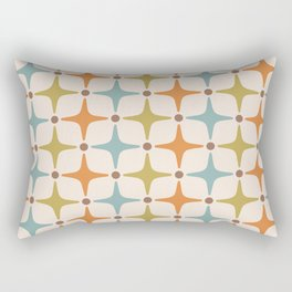 Mid Century Modern Star Pattern 817 Orange Brown Blue and Olive Green Rectangular Pillow
