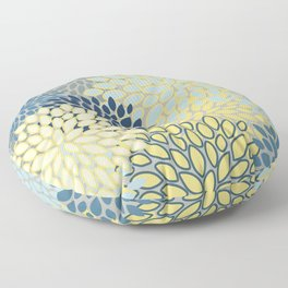 Floral Print, Yellow, Gray, Blue, Teal Floor Pillow