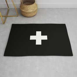 Swiss Cross Black and White Scandinavian Design for minimalism home room wall decor art apartment Rug