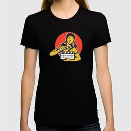 asiian woman girl with movie clapboard T-shirt