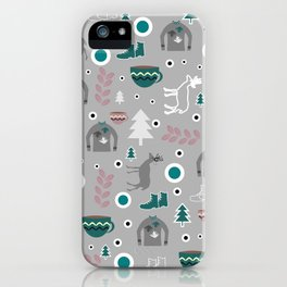 Deer and winter clothing iPhone Case