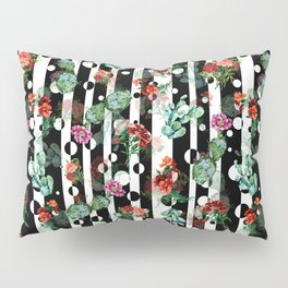 Cactus Flowers and Lines Pillow Sham
