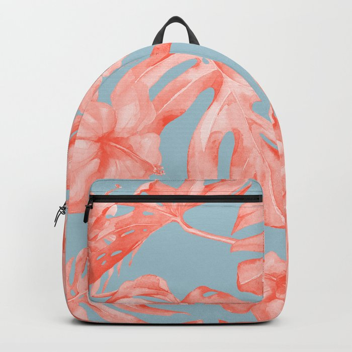 Island Life Coral on Light Blue Backpack