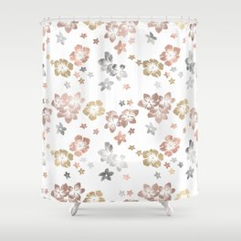 Rose Gold Copper Bronze Tropical Flowers Multi Metallic Shower Curtain
