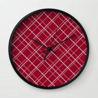 burgundy Wall Clocks featuring Burgundy Pattern by Christina Rollo