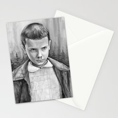 Stranger Things Eleven Watercolor Painting Black and White Stationery Cards