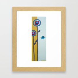 Blu Bird Bloom Framed Art Print