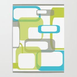 Mid-Century Modern Rectangle Design Blue Green and Gray Poster