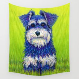 Colorful Miniature Schnauzer Dog Pet Portrait Wall Tapestry