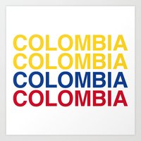 colombia Art Prints featuring COLOMBIA by eyesblau