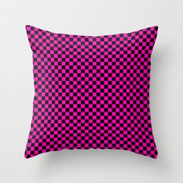 Bright Hot Neon Pink and Black Racing Car Check Throw Pillow