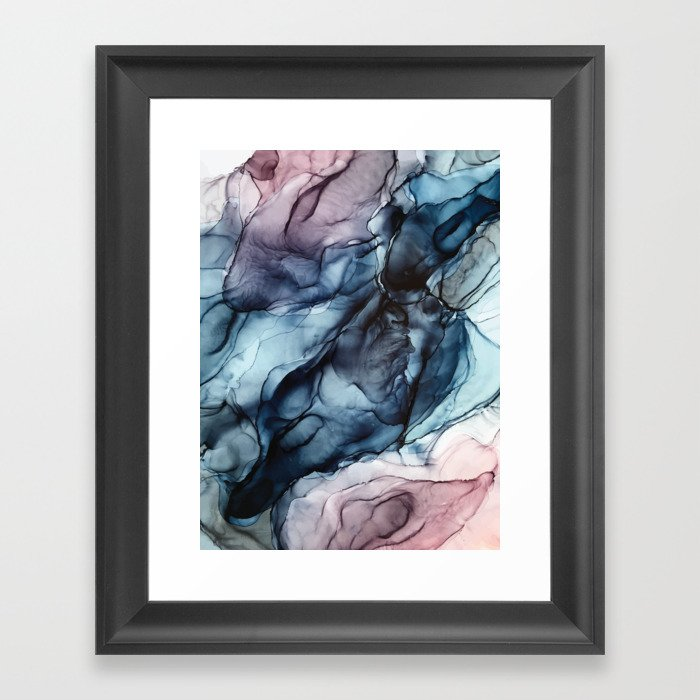 Blush and Darkness Abstract Paintings Gerahmter Kunstdruck