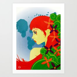 Girl & Flowers Art Print