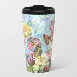 Garden Flowers and bees Travel Mug