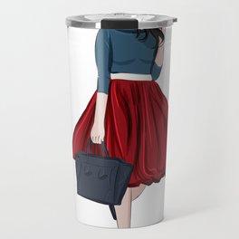 Romantic look, girl in red skirt Travel Mug