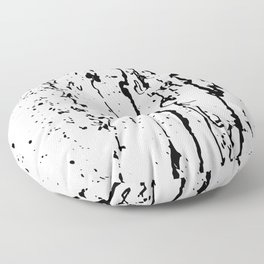 poured paint blots black and white Floor Pillow