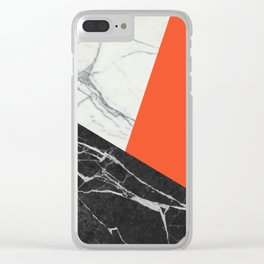 Black and White Marble with Pantone Flame Color Clear iPhone Case